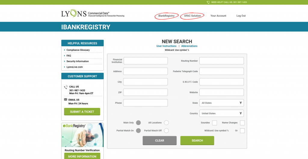 iBankRegistry Top Navigation